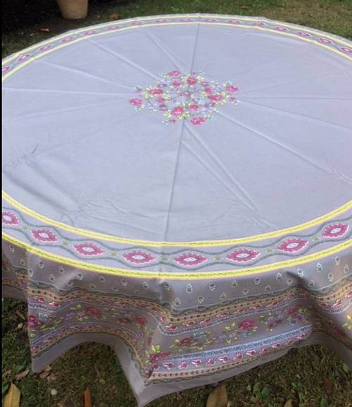 """Grey with Pink Flowers  Coated Tablecloth  70"""" Round"""