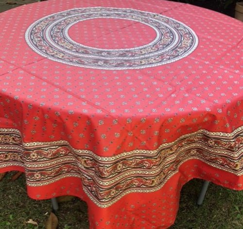 """Red and White Provence  Coated Tablecloth  70"""" Round"""