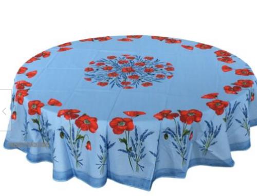"Coquelicot Poppies Ligh Blue - 70"" Round"