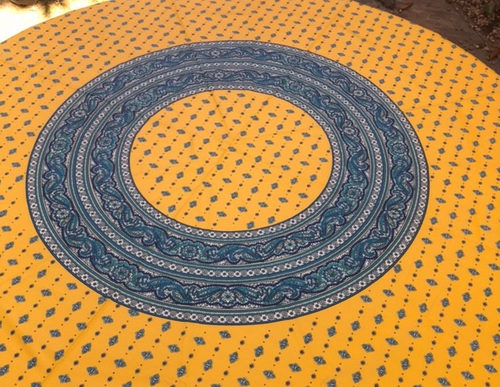 """Provence Coated Tablecloth Yellow, 70"""" Round"""