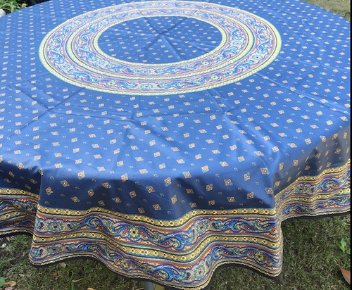 """Provence Coated Tablecloth Navy, 70"""" Round"""