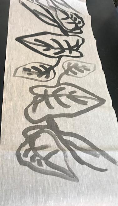 Black and Grey Leaf Runner on Linen