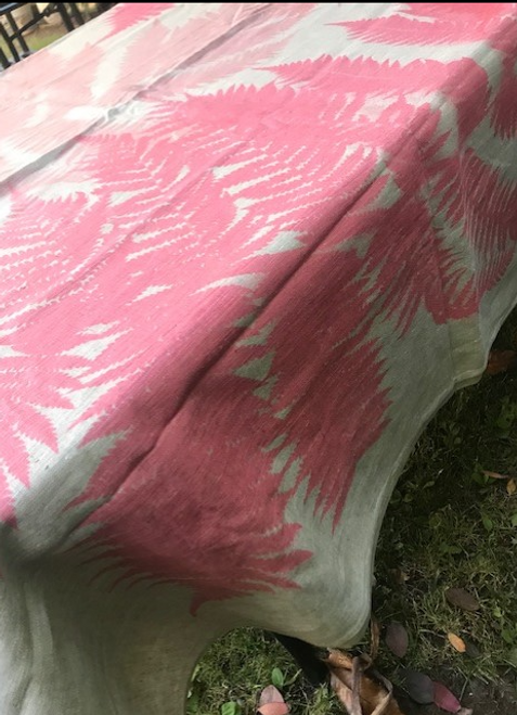 Pink Fern Linen Tablecloth