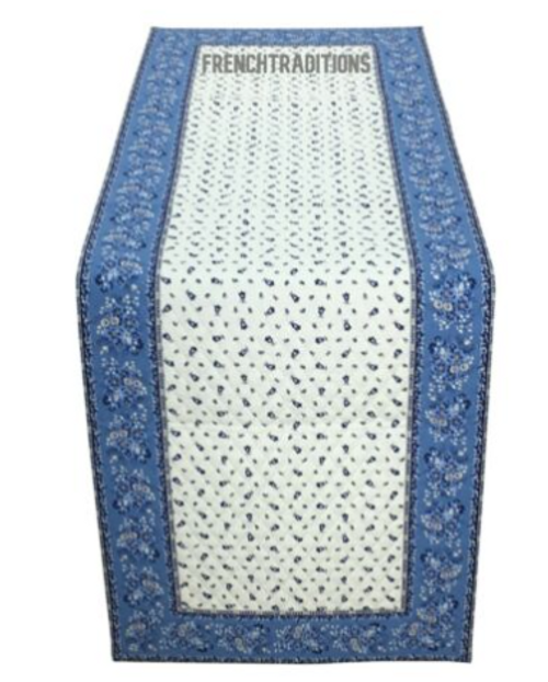 Quilted Runner Bastide, Blue and White