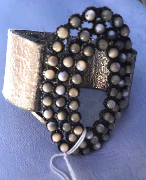 Mother of Pearl Bracelet on Leather