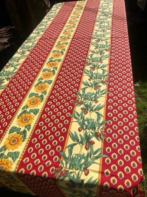 """Provence Tablecloth Red with Sunflowers and Olives 58"""" x 120"""""""