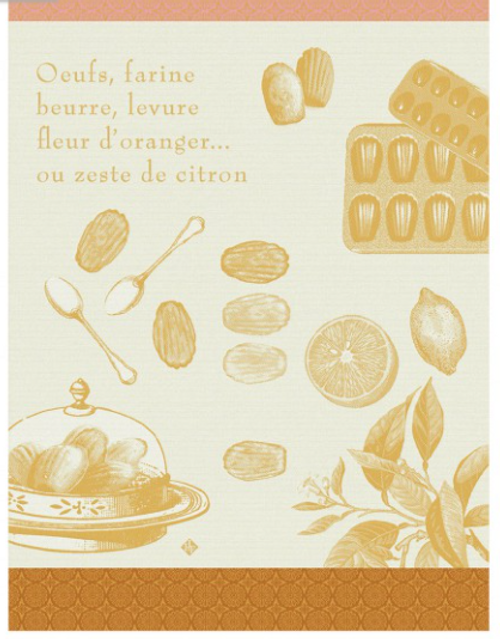 Recette Madeleine Yellow  Kitchen Towel