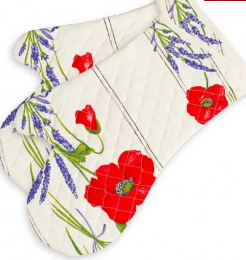 Oven Mitts Provence - White Poppies and Lavender