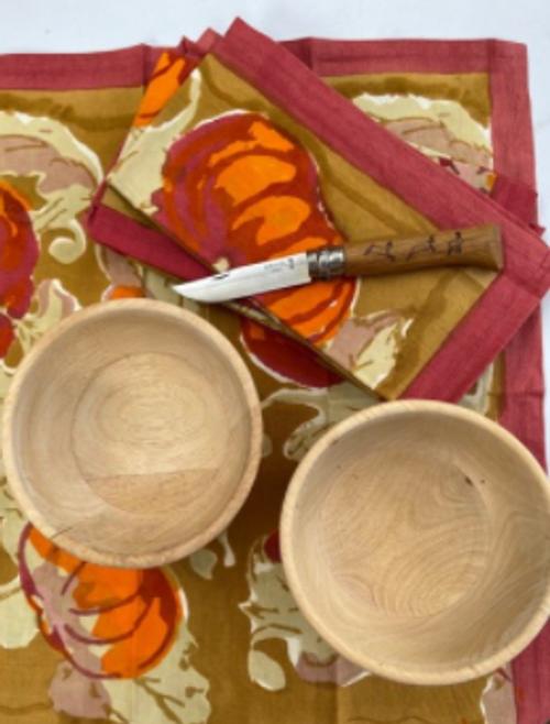 Set of 6 Napkins,  2 Wooden Bowls, 1 Opinel Knife