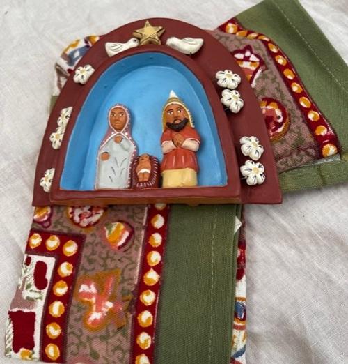 Miniature Nativity Scene and Dishtowel