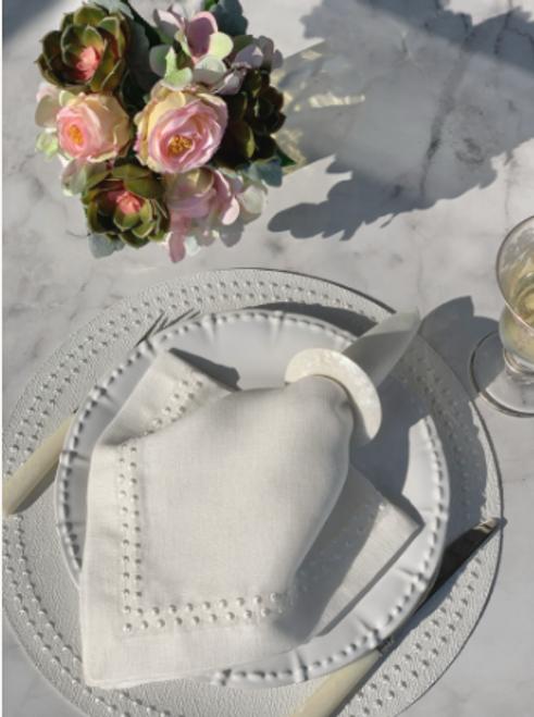 White Linen Pearl Napkins, Set of 4