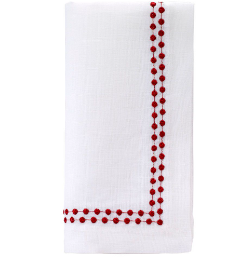 Ruby Linen Pearl Napkins, Set of 4