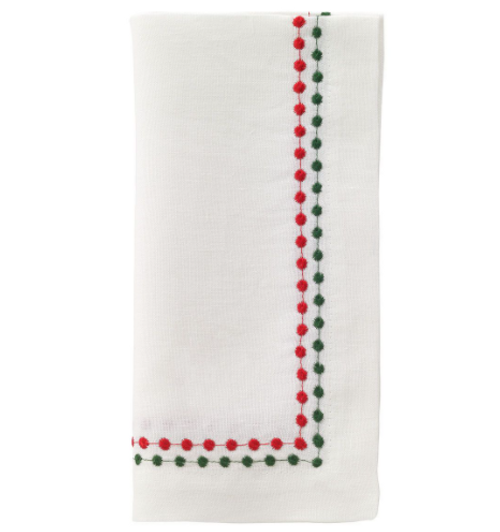 Red and Green  Linen Pearl Napkins, Set of 4