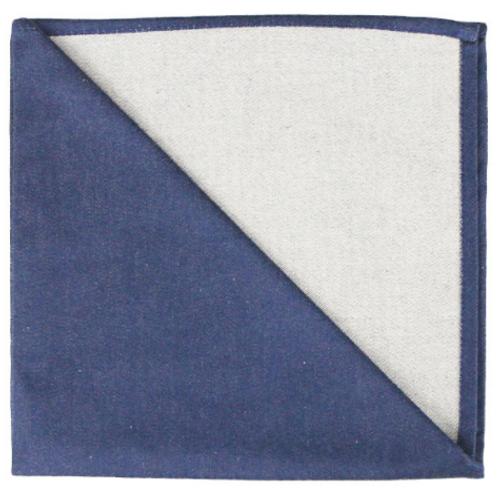 Bicolor Cotton Napkins Marine / Blanc, Set of 6