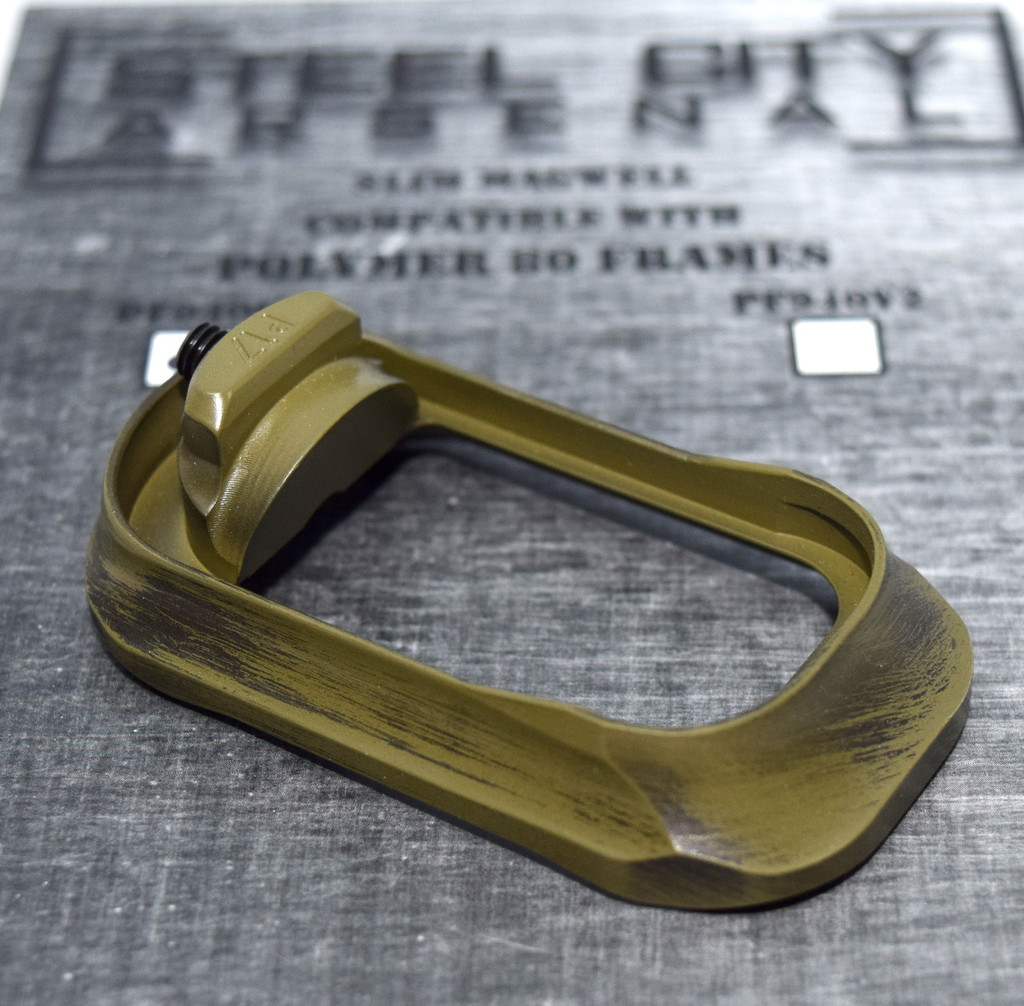 Steel City Arsenal Slim magwell for Polymer 80 PF940V2 Frames- Battleworn Bazooka Green