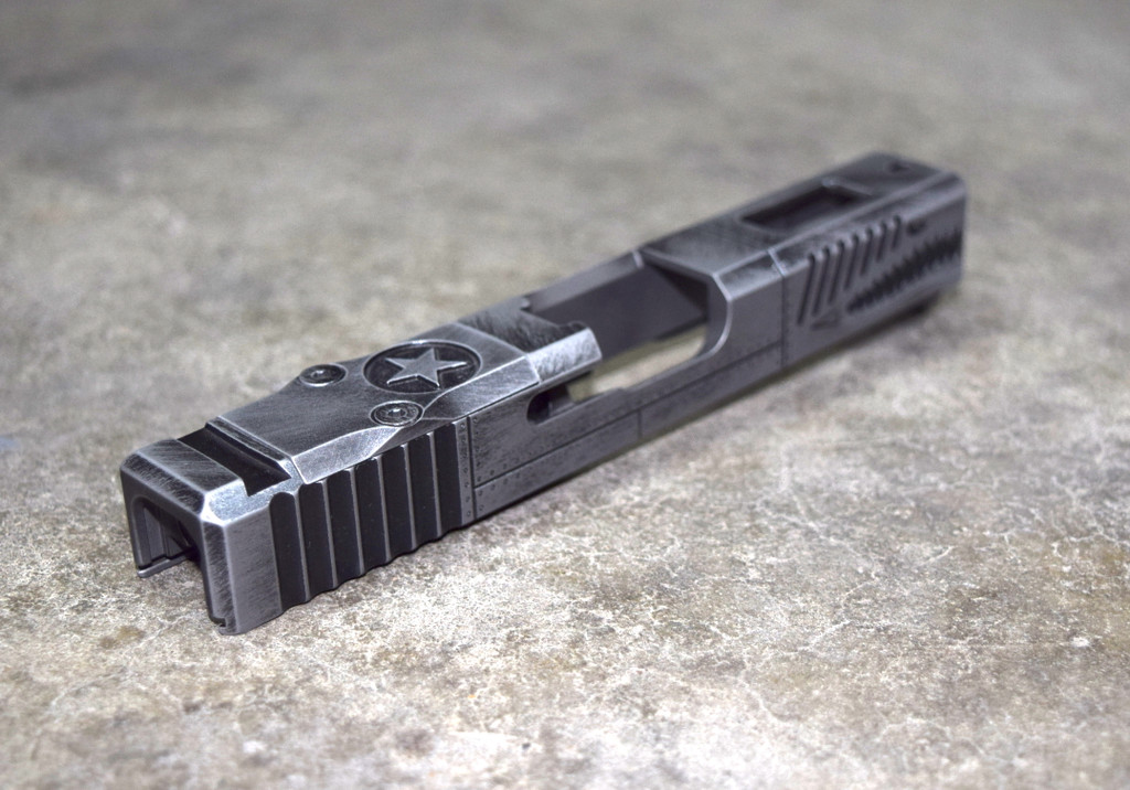 [P40 Warhawk] Slide for Glock 19 Gen 3 Battleworn Gray slide RMR Cut Poly 80
