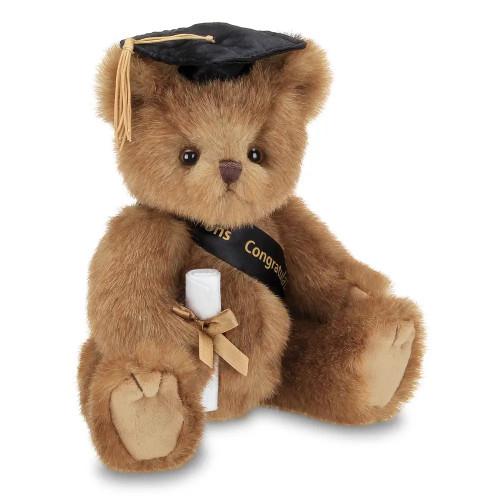 The Bearington Collection Smarty Graduation Bear Black Cap Stuffed Animal Plush