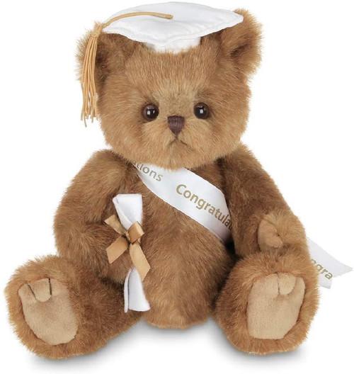 The Bearington Collection Smarty Graduation Bear White Cap Stuffed Animal Plush