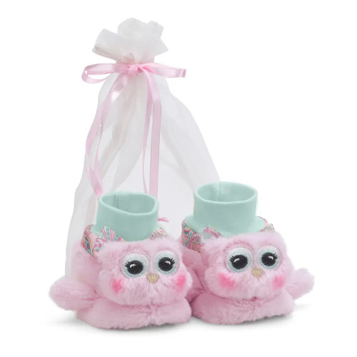The Bearington Collection Lil' Hoots Pink Owl Booties Size 6-12 Months Baby