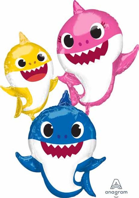 Gliding Baby Shark Family Foil Balloon
