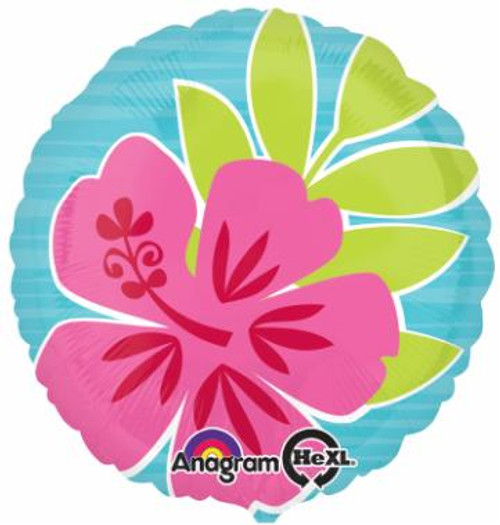 Tropical Flowers Round Foil Balloon