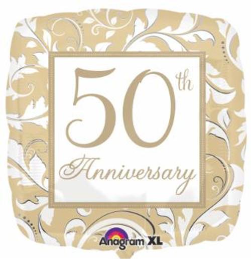 "Anagram 18"" 50th Anniversary Square Foil Gold Balloon"