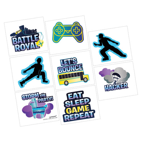Battle Royal Gaming Birthday Temporary Tattoos Party Favor Pack of 8