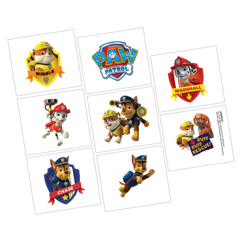 Paw Patrol Temporary Tattoos Birthday Party Favor Pack of 8
