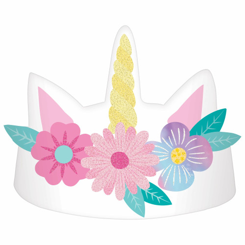 Enchanted Unicorn Paper Crown Birthday Party Hat 8 Pack