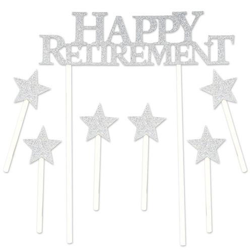 Happy Retirement Glitter Cake Topper