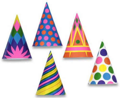 Assorted Paper Birthday Party Cone Hats
