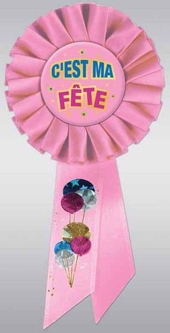 C'est Ma Fete Deluxe Pink Satin Birthday Rosette Pin