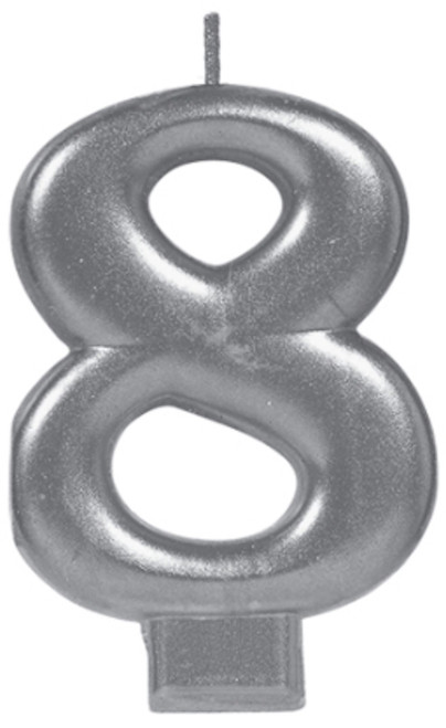 Silver Metallic Numeral Birthday Party Cake Candle #8 Number Eight
