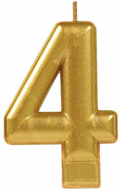 Gold Metallic Numeral Birthday Party Cake Candle #4 Number Four