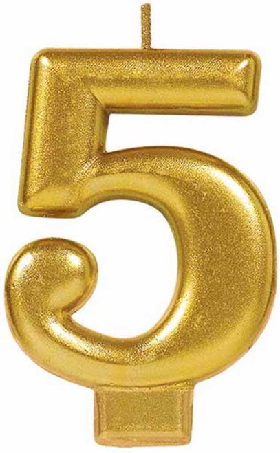 Gold Metallic Numeral Birthday Party Cake Candle #5 Number Five