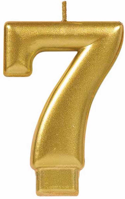 Gold Metallic Numeral Birthday Party Cake Candle #7 Number Seven
