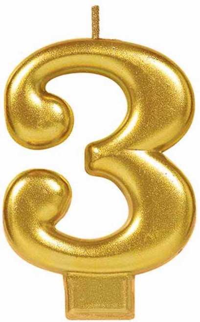 Gold Metallic Numeral Birthday Party Cake Candle #3 Number Three