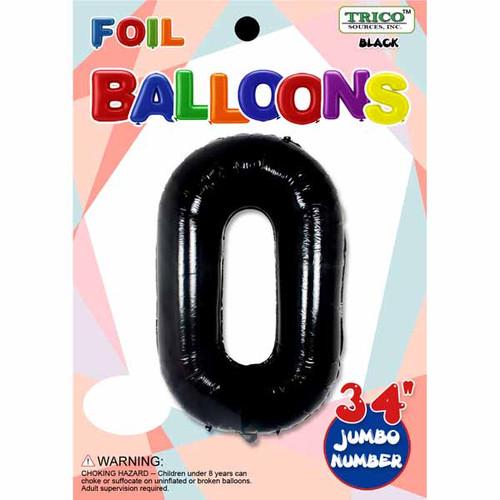 "34"" Black Number 0 Supershape Decorative Foil Balloon"