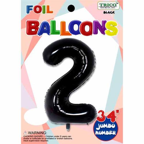 "34"" Black Number 2 Supershape Decorative Foil Balloon"