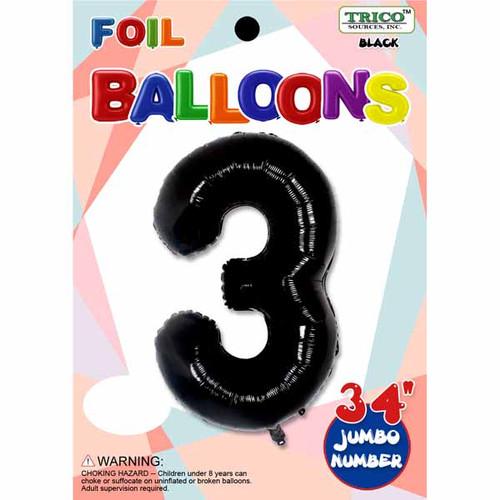 "34"" Black Number 3 Supershape Decorative Foil Balloon"