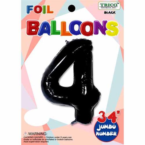"34"" Black Number 4 Supershape Decorative Foil Balloon"
