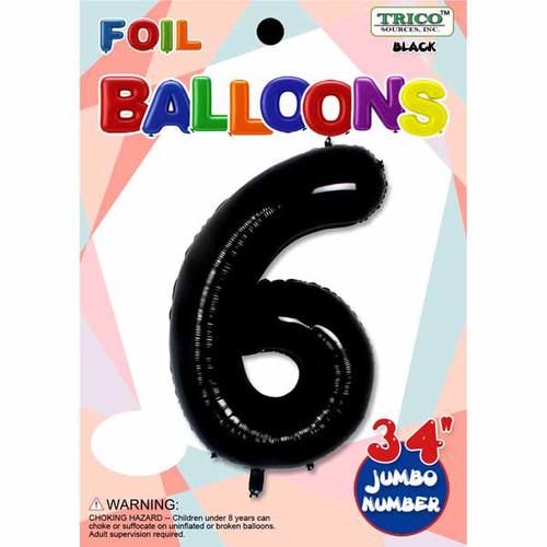 "34"" Black Number 6 Supershape Decorative Foil Balloon"