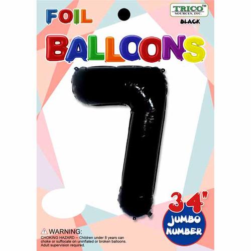 "34"" Black Number 7 Supershape Decorative Foil Balloon"