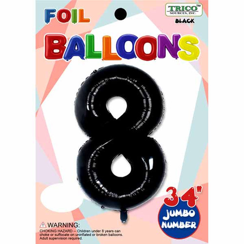 "34"" Black Number 8 Supershape Decorative Foil Balloon"