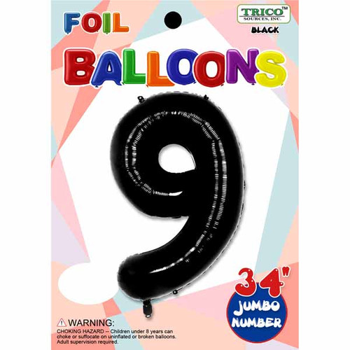 "34"" Black Number 9 Supershape Decorative Foil Balloon"