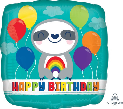 Rainbow Sloth Happy Birthday Foil Balloon