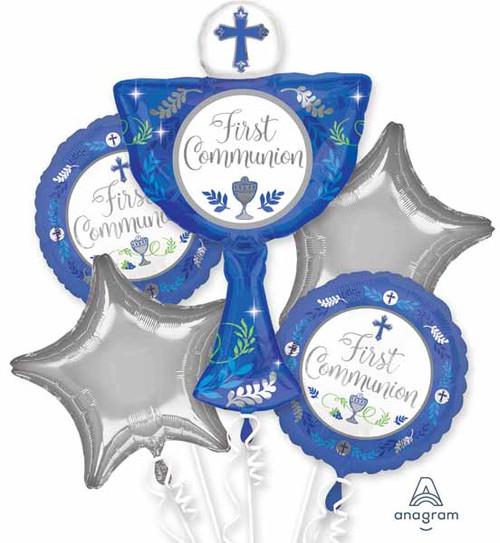Blue First Communion Balloons Bouquet