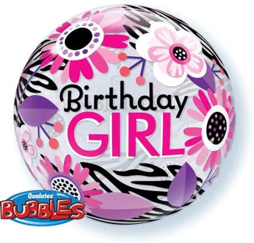 Birthday Girl Floral Zebra Bubbles Balloon