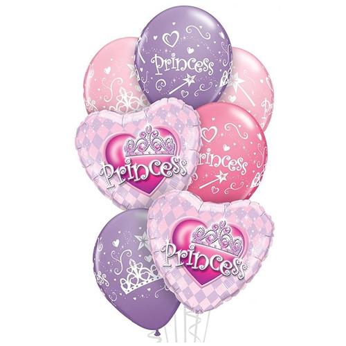 Princess Balloons Pink Purple Bouquet