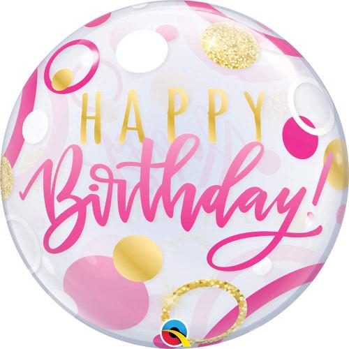 Pink Gold Bubbles Happy Birthday Balloon